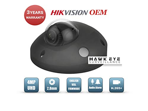 4MP PoE Security IP Camera – Mini Dome,Indoor and Outdoor,Wide Angle 2.8mm Lens,Built in Microphone, SD Card Slot Audio Alarm in/Out Compatible with Hikvision DS-2CD2543G0-IS English Version