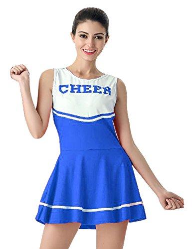 Hamour Womens' Cheerleader Costume Mini Skirt Fancy Dress Uniform, Medium Blue1 (Piece Dress Cheerleader One)