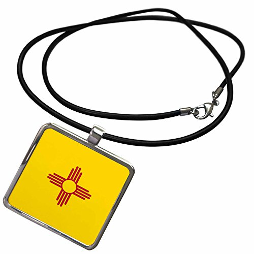 3dRose InspirationzStore Flags - Flag of New Mexico - US American United State of America USA - red sun symbol of the Zia on yellow - Necklace With Rectangle Pendant (ncl_158391_1)