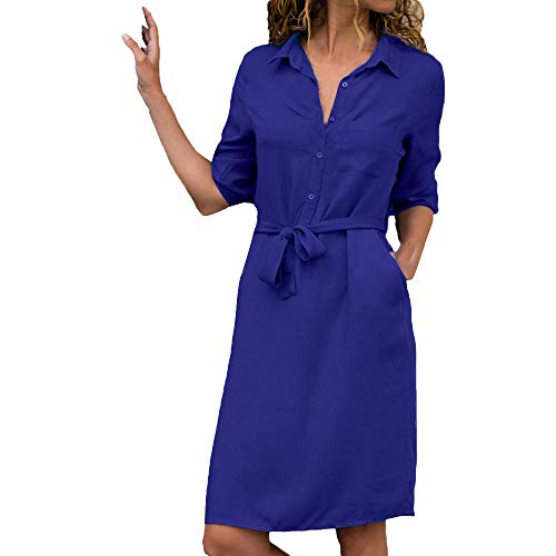 Womens Solid Long Sleeve V-Neck Wrap Waist Plus Size Business Maxi Dress (Satin Halter Social Dress)