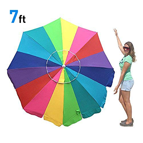 EasyGo 7 Foot Rainbow Beach Umbrella Kids - Portable Wind Beach Umbrella Large -...