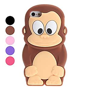 3D Design Cartoon Monkey Pattern Soft Case for iPhone 5/5S (Assorted Colors) --- COLOR:Pink