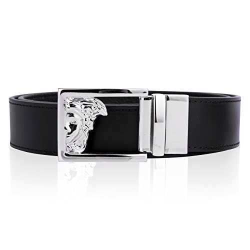 Versace Collection Mens Black Leather Medusa Logo Adjustable Reversible Belt 207 - Logo Versace Medusa