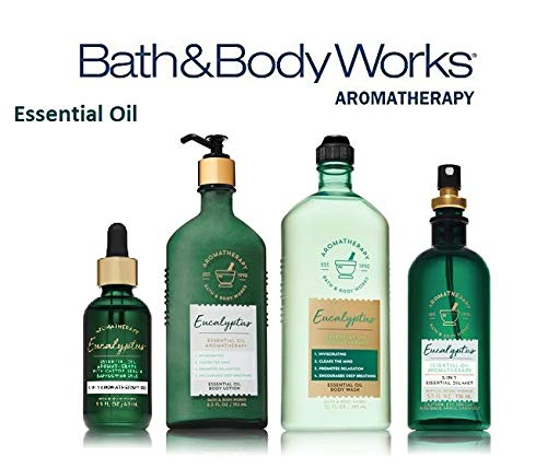Bath and Body Works Aromatherapy Deluxe Gift Set NEW EUCALYPTUS Essential Oil - Body Lotion - Oil Mist - Massage Oil and Body Wash Full - Eucalyptus Gift Set