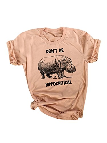 Hippo Letters - L&ZZ Unisex Tee Animal Graphic and Funny Letters Pun Tops, Sand, Large