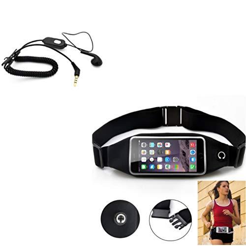 Black Sport Workout Belt Waist Bag Case w Coiled Headset Mono Handsfree Earphone Earbud B3W Compatible with LG G Vista, Premier LTE, K20 Plus, Optimus G Pro, Lite, V50 ThinQ 5G, V40 ThinQ