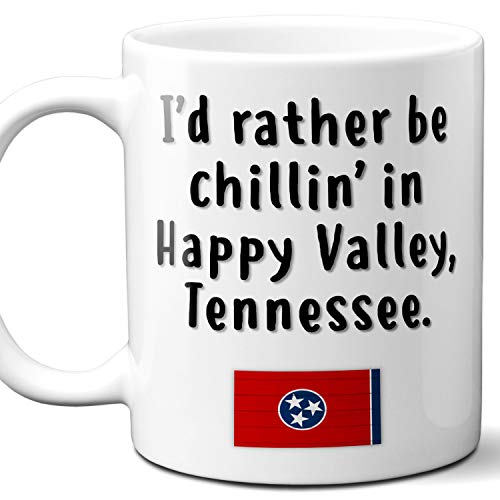 """Happy Valley Tennessee Coffee Mug Souvenir Gift.""""Chillin In"""" With TN Flag. 11 Ounces."""