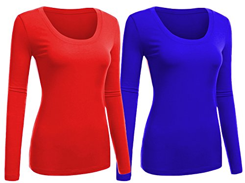 Emmalise Women's Junior and Plus Size Basic Scoop Neck Tshirt Long Sleeve Tee, Large, 2Pk Red, Royal ()