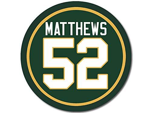American Vinyl Round Matthews #52 Sticker (Green Bay Number Packers Mathews Clay - Green Matthews 52 Clay