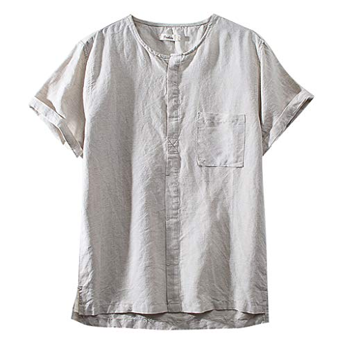 2in 1 Henley - JJLIKER Mens Cotton Linen Henley Shirts Solid Short Sleeve Tops Summer Button Up Tees Loose Casual Summer T Shirts White