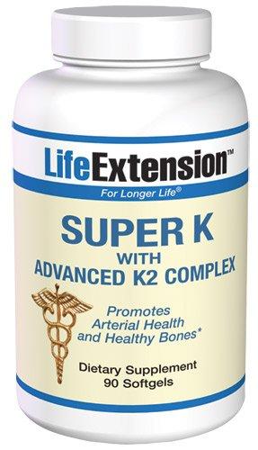 Life Extension Super K souple Gels 90 (Un supplément quotidien de santé diététique de la vitamine K Régule calcium de l'organisme et favorise la calcification des os et assure que votre corps est protégé et aider à prévenir certains effets du vieillisseme