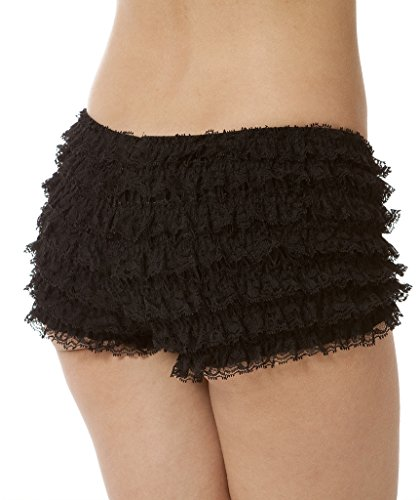 BellaSous Womens Sexy Ruffle Panties Tanga Dance Bloomers Sissy Booty Shorts (Black, - Ruffled Lace Bloomers