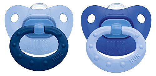 NUK 10175114 Fashion Silikon-Schnuller mit Ring, Größe 1, 0-6 Monate, kiefergerechte Form, BPA frei, 2 Stück, Boy
