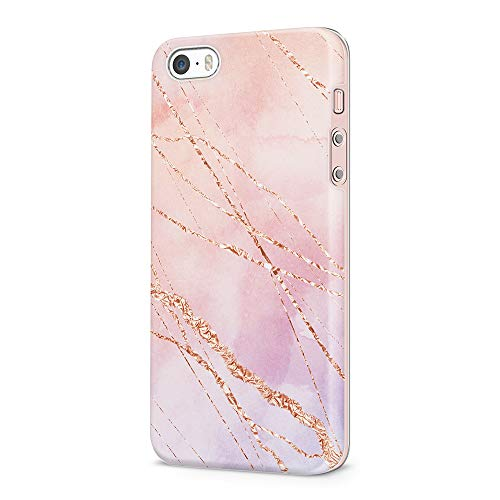 uCOLOR iPhone SE 5S 5 Case Shinny Rose Gold Pastel Pink Marble Soft Flexible TPU Protective Cover for iPhone SE/5S/5 ... (Iphone 5s Gold Wrap)
