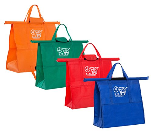 4EASYSHOP Trolley Bags – Reusable Grocery Shopping Cart Bag Set of 4 Bags Sized for USA – with Velcro Straps & 1 Thermally Insulated