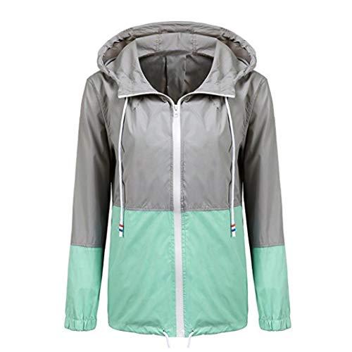 glissire Manteau Manches Patchwork Manteau Capuche Femmes Mince avec Fermeture Longues Vert MuSheng Sport STqFF