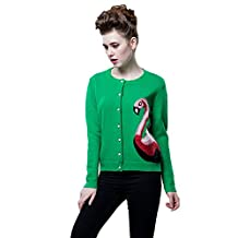 Chickle Women's Round Neck Long Sleeve Button Up Sweater