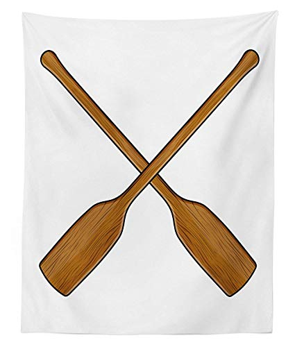 Lohebhuic Oar Tapestry Twin Size Wooden Canoe Paddles Nautical Timber Ocean Sports Competition Race Hobby Theme Image Wall Hanging Bedspread Bed Cover Wall Decor,59.67