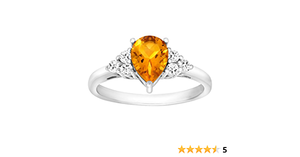 FSJ-5137 Citrine Ring Gifts For Her Ring For Wife 925 Solid Sterling Silver Boho Ring Stylish Ring White Topaz Jewellery For Women/'s