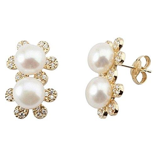 Boucled'oreille 18k or fleur double culture zircons perle [5833]