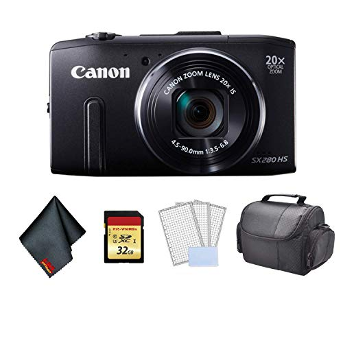 Canon PowerShot SX280 HS Digital Camera (Black) 8224B001 Bundle with Carrying Case + 32GB Memory Card + More