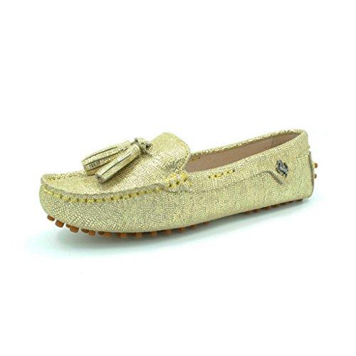 Meijili Women's Casual Loafer Flats Driving Moccasin Work Tassels Peas Shoes Gold1 eZqjJUw4