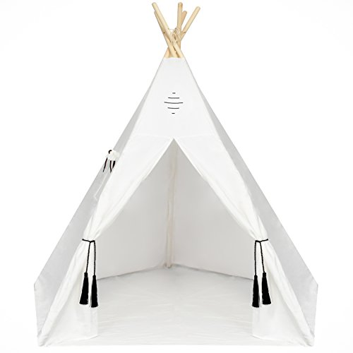 Nature's Blossom Kids Teepee Tent Large 6 Feet Tipi with Floor, Five Poles, Window & Carrying Bag. Foldable Playhouse for Indoor or Outdoor Play. Popular Gift for Thanksgiving & Christmas