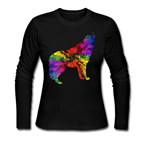 Wolf Animal colorful Rainbow Cartoon Women's Casual Long Sleeve Round Neck Loose T Shirt Tops Reynolds Casuals Set