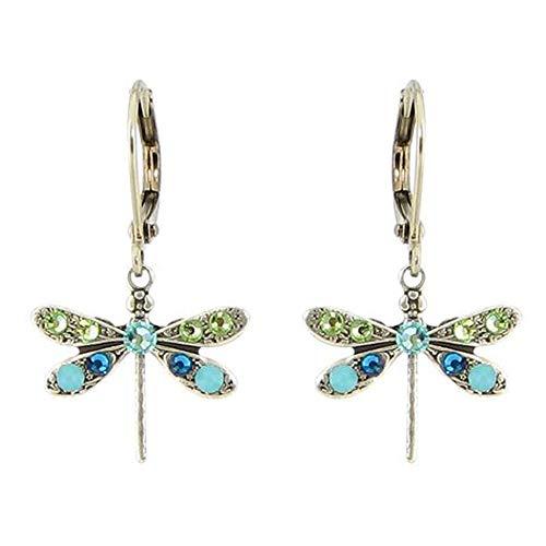 Dazzling Butterfly Austrian Crystal Hanging Silverplate Leverback Dangle Earrings (Green Blue)