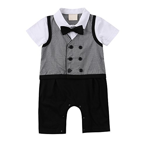 Baby Boy Gentleman Romper Toddler Vest Tuxedo Jumpsuit 1pc Formal Outfit (Infant Boy Formal Wear)