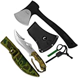 Yes4All Camping Axe and Knife Kit with Sheath & Fire Starter – Survival Axe Hatchet/Camping Hatchet & Fixed Blade Tactical Knife (Knife H103)