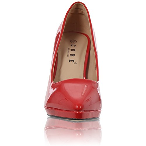 CORE COLLECTION New Womens Pointed Stiletto HIGH Heel Platform Court Shoes Size UK 3-8 Red Patent TFsKgM
