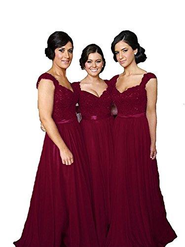 Fanciest Women' Cap Sleeve Lace Bridesmaid Dresses Long Wedding Party Gowns Burgundy US14