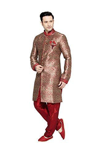 Jaipur Collections Indian Kurta Pajama Set For Men Wedding Festival Partywear In Red Brocade Art Silk by Jaipur Collections