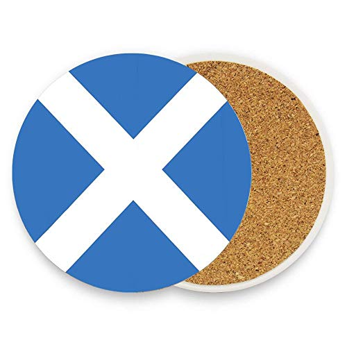 keyishangmaoLu Scottish Flag of Scotland Saint Andrew Cross Accurate Dimensions Proportions and Colors Saltire Ensign Coaster Ceramic Cork Trivet Heat Resistant Hot Pads Table Cup Mat Coaster 1 -