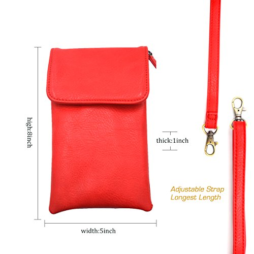 Cellphone Small Shoulder Holster TIANHOO Purse Single Crossbody Women Bag Pouch or Red Passport 6BZnHx