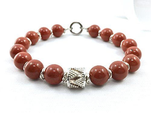 Men's Red Jasper Bead Bracelet with Sterling Silver Bali Bead