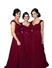 Fanciest Women' Cap Sleeve Lace Bridesmaid Dresses Long Wedding Party Gowns