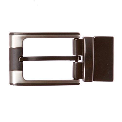 1 1/8 Inch (30 mm) Reversible Clamp Two Tone Belt Buckle, gunmetal/nickel
