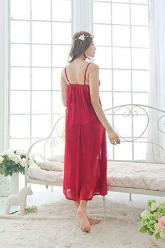 YICHUN Mujer Camisón Transparente largo pijamas camisón de encaje V-NECK Homewear sin mangas Rojo oscuro