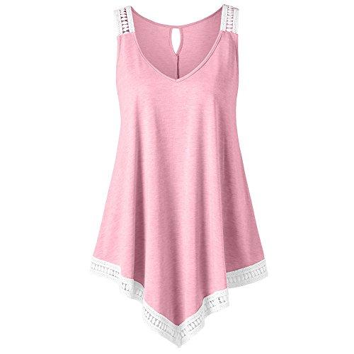 Lace Vest for Women Plus Size,Londony❤ღ♕ Womens Plus Size Irregular Hem Short Sleeve Loose Shirt Dress Top Pink
