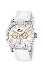 Lotus 15684/2 - Reloj de mujer de cuarzo, correa de piel color blanco