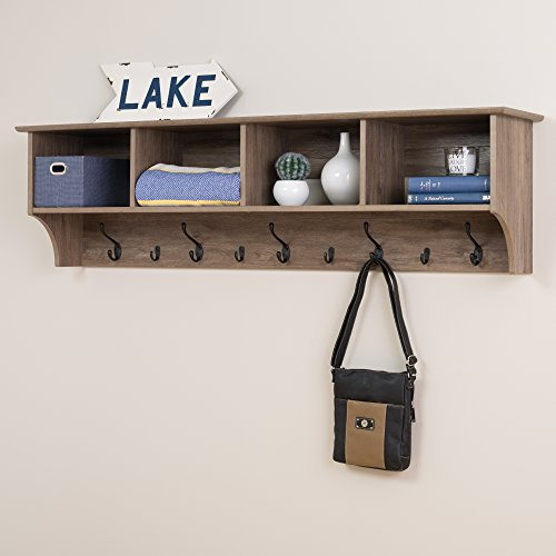 """Prepac 60"""" Wide Hanging Entryway Shelf, 60 inches, Drifted Gray"""