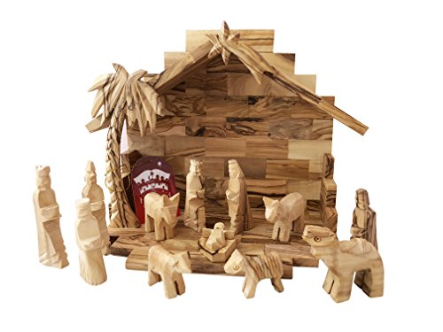 Olive Wood Miniature Nativity Set with Stable and The Christmas Camel