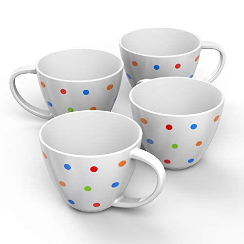 Francois et Mimi Jumbo Wide Mouth Ceramic Cereal Coffee Mug with Polka Dots, White, 18 Ounce (Set of 4)