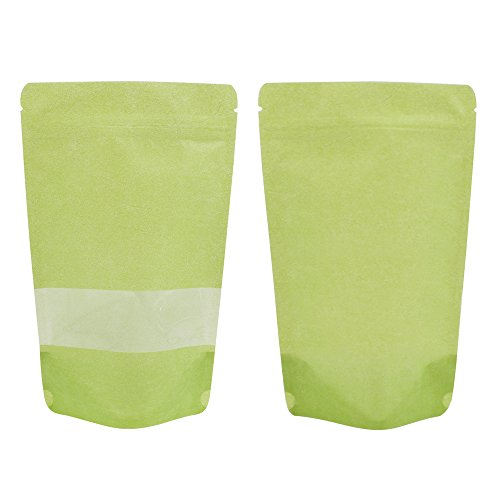 Paper Rice Green - (Price/ 50 PCS) Aspire Eco-Friendly Rice Paper Stand Up Pouch with Ziplock and Clear Window, (4 OZ, 8 OZ, 16 OZ), 10 mil-Lime Green-16oz
