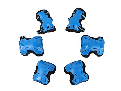 Wetietir Skating 6 Pcs/Set Kid's Protective Gear Set with Elbow Knee Handguard for Roller Skating Skateboard BMX Scooter Cycling (Blue M) for Protection by Wetietir