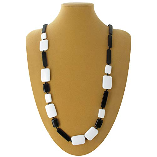 Necklace Long Black White Lucite Mixed Geometric Square Rectangle Beads 40