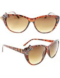 Cateye Cute Rhinestone Sunglasses 7070 Brown Leopard Butterfly Amber Gradient Lens