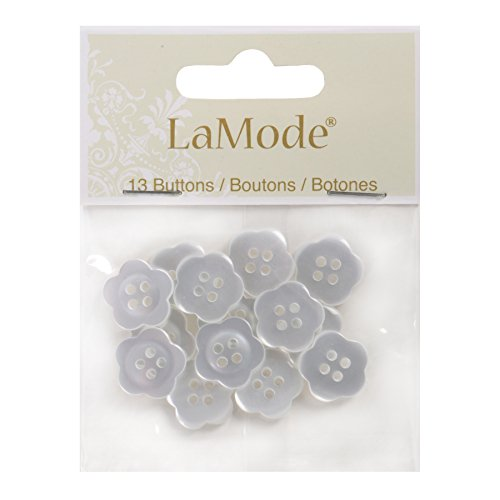Blumenthal Lansing Scalloped Clear Flower Shaped Buttons White
